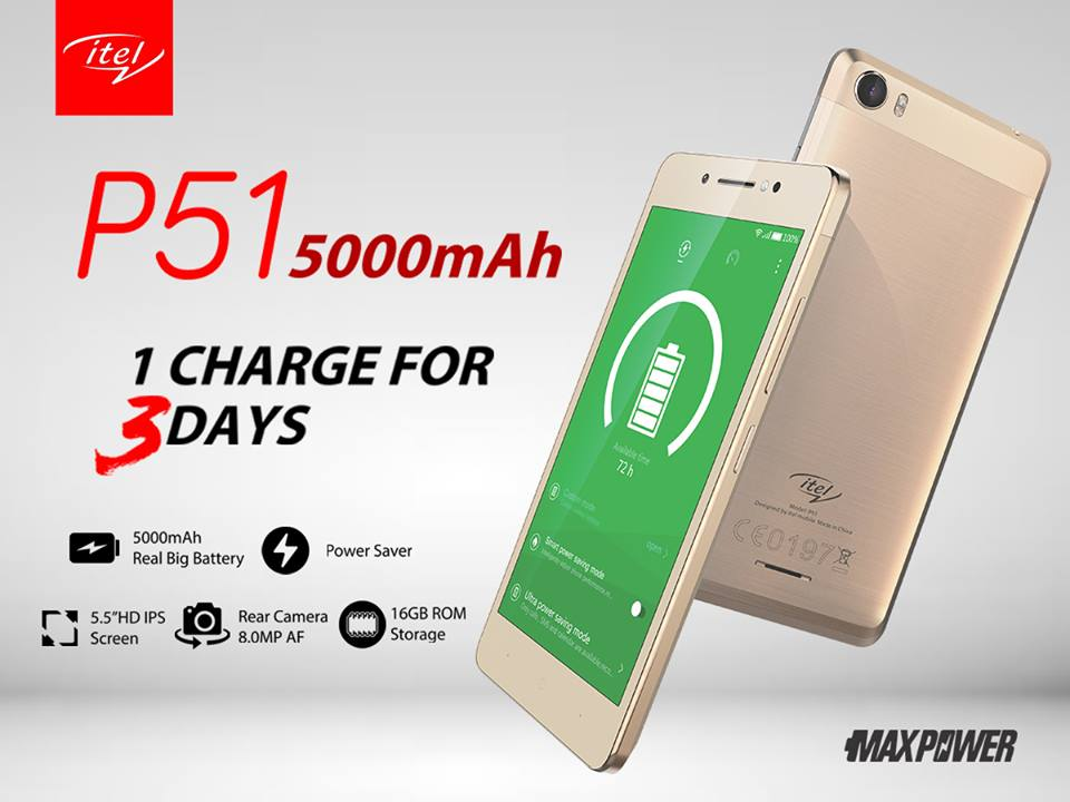 Itel Mobile unveils Itel P51 with 5000mAh monster battery capacity #Maxpower