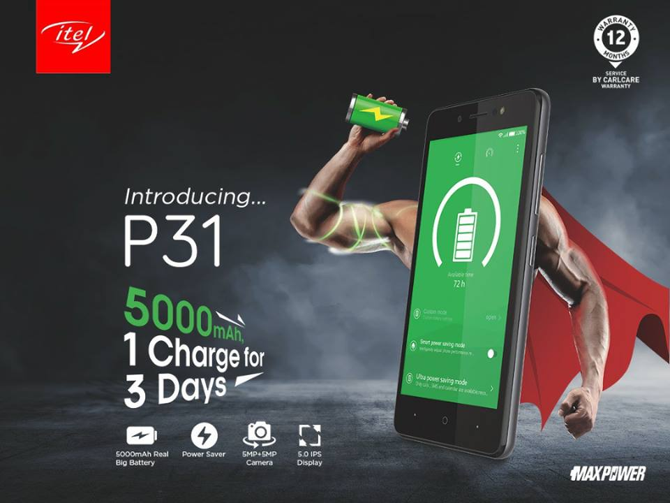 Itel P31 with 5000mAh battery and 5.0'' HD IPS Screen announced