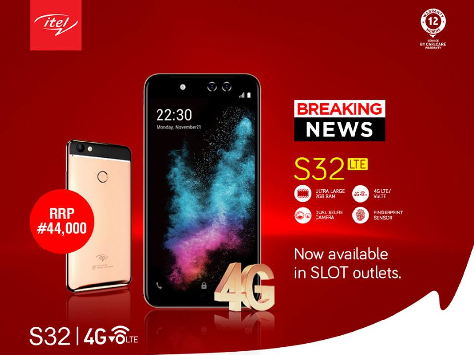 Itel S32 LTE is now available in SLOT outlets Nationwide For N44,000